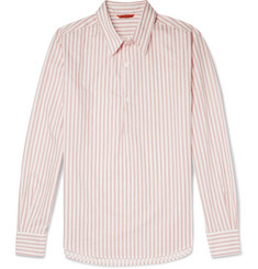 Barena Slim-Fit Striped Cotton-Poplin Half-Placket Shirt