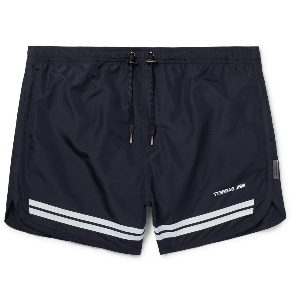 Short-length Striped Swim Shorts - Midnight blue