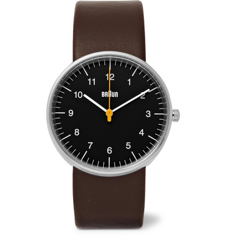 Braun Bn002 Stainless Steel And Leather Watch In Brown
