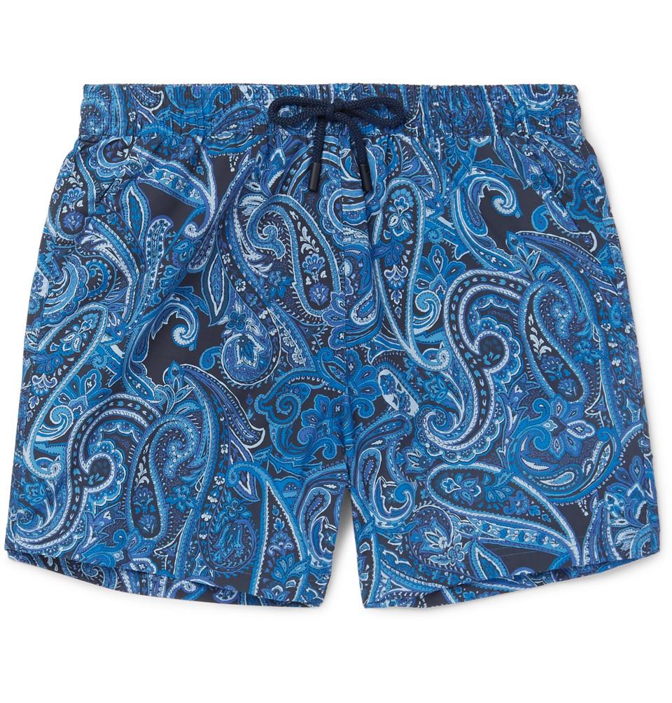 Ponza Mid-length Printed Shell Swim Shorts - Navy