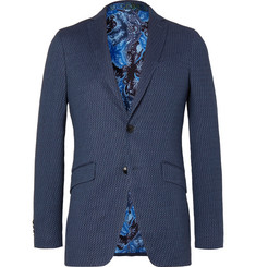 Etro Dark-Blue Slim-Fit Stretch Cotton and Linen-Blend Jacquard Blazer