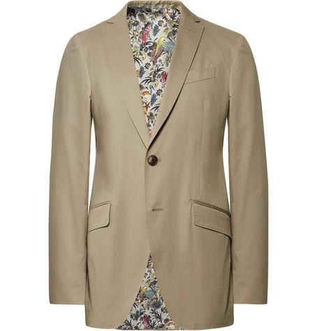 Beige Slim Fit Stretch Cotton Suit Jacket by Etro
