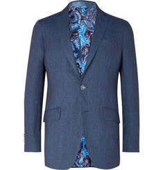 Etro - Dark-Blue Slim-Fit Linen Blazer