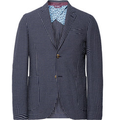 Etro Blue Checked Stretch Cotton-Seersucker Blazer