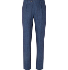 Etro - Dark-Blue Slim-Fit Linen Suit Trousers