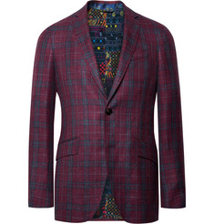 Etro - Plum Slim-Fit Checked Wool, Silk and Linen-Blend Blazer