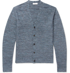 Etro Slim-Fit Waffle-Knit Mélange Cotton and Linen-Blend Cardigan