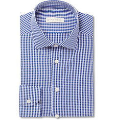 Etro Blue Slim-Fit Gingham Cotton-Poplin Shirt