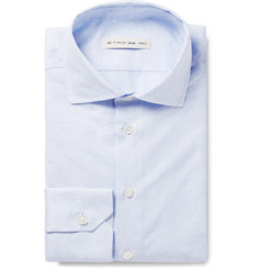 Etro - Light-Blue Slim-Fit Cutaway-Collar Striped Cotton-Jacquard Shirt