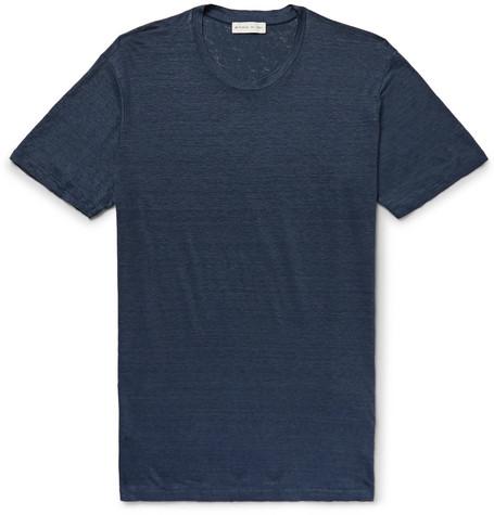 Etro Slub Linen T-shirt In Storm Blue
