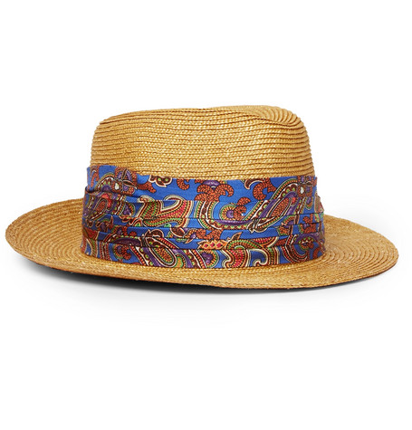 Silk-trimmed Straw Trilby Hat - Blue