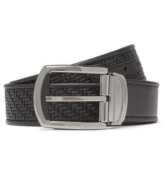 Ermenegildo Zegna 3.5cm Black Reversible Pelle Tessuta Leather Belt