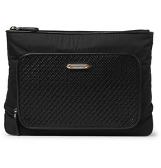 Ermenegildo Zegna Pelle Tessuta Leather And Shell Wash Bag
