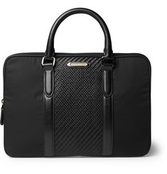 Ermenegildo Zegna Pelle Tessuta Leather and Nylon Briefcase