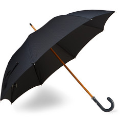 Ermenegildo Zegna Leather-Handle Jacquard Umbrella