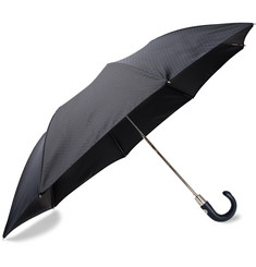 Ermenegildo Zegna Jacquard Leather-Handle Collapsible Umbrella