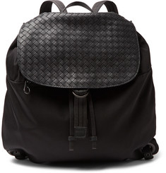 Bottega Veneta Intrecciato Leather-Panelled Canvas Backpack