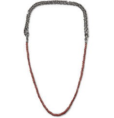 Bottega Veneta Burnished Sterling Silver Garnet Necklace