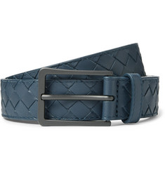 Bottega Veneta 3cm Storm-Blue Intrecciato Leather Belt