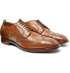 Officine Creative - Princeton Burnished-Leather Wingtip Brogues
