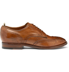 Officine Creative Princeton Burnished-Leather Wingtip Brogues