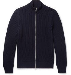 Dunhill - Leather-Trimmed Ribbed Wool Zip-Up Cardigan