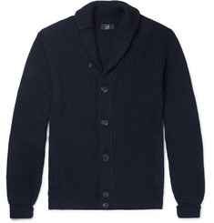 Dunhill Shawl-Collar Ribbed Cotton Cardigan