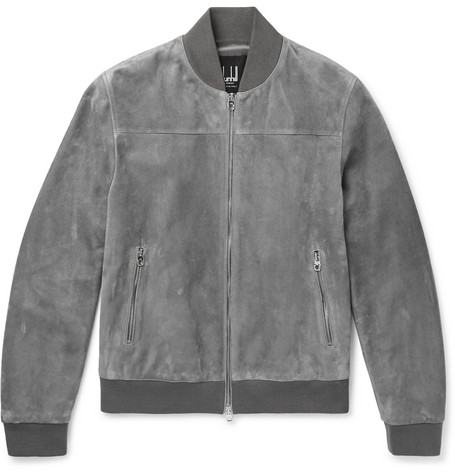 Suede Bomber Jacket - Gray