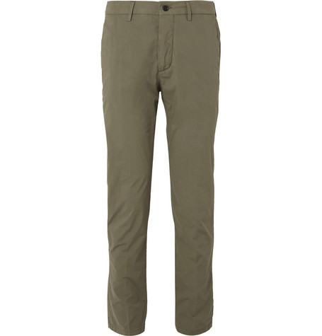 Slim-fit Stretch-cotton Poplin Chinos - Green