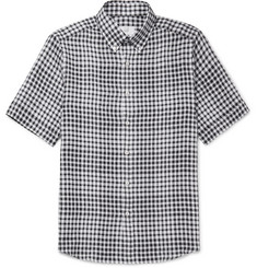 Dunhill Button-Down Collar Gingham Linen Shirt