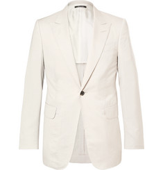 Dunhill Cream Kensington Slim-Fit Mulberry Silk-Seersucker Suit Jacket