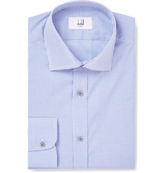 Dunhill Blue Slim-Fit Cutaway-Collar Gingham Cotton Shirt