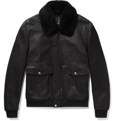 Dunhill - Shearling-Trimmed Leather Aviator Jacket