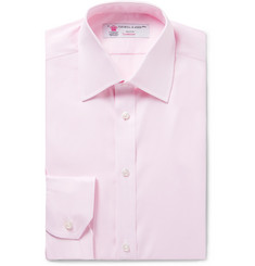 Turnbull & Asser Pink Slim-Fit Herringbone Cotton Shirt