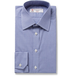 Turnbull & Asser Blue Slim-Fit Micro-Gingham Cotton-Poplin Shirt