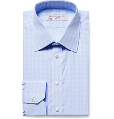 Turnbull & Asser Light-Blue Slim-Fit Checked Cotton-Poplin Shirt
