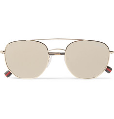 Prada Aviator-Style Gold-Tone Mirrored Sunglasses
