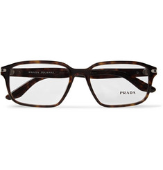 Prada Rectangle-Frame Tortoiseshell Acetate Optical Glasses