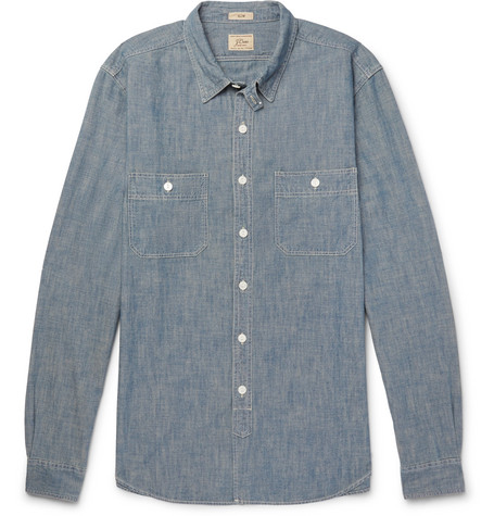 J.crew Cotton-chambray Shirt In Blue