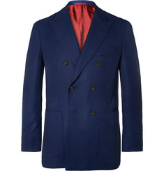 Isaia - Blue Sailor Double-Breasted Super 130s Wool-Hopsack Blazer