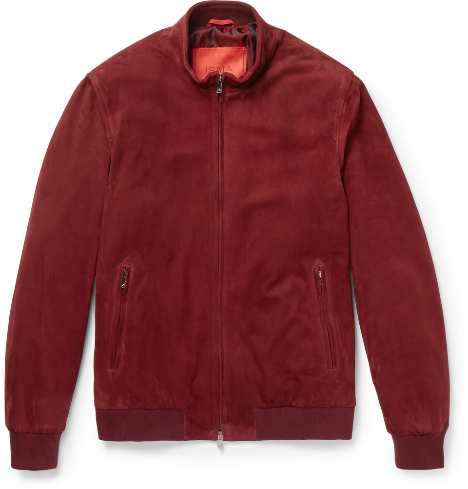 Slim-fit Suede Bomber Jacket - Red