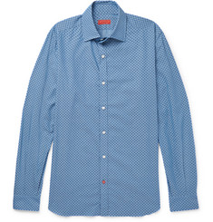 Isaia Slim-Fit Floral-Print Cotton-Chambray Shirt