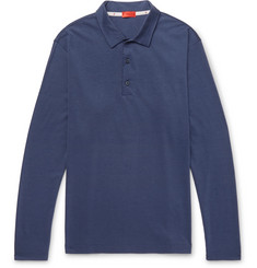 Isaia - Slim-Fit Silk and Cotton-Blend Jersey Polo Shirt