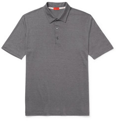 Isaia - Silk and Cotton-Blend Jersey Polo Shirt