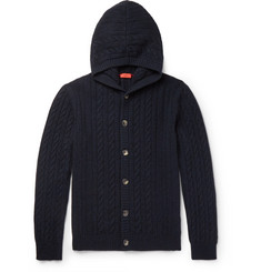 Isaia - Cable-Knit Cashmere Hooded Cardigan