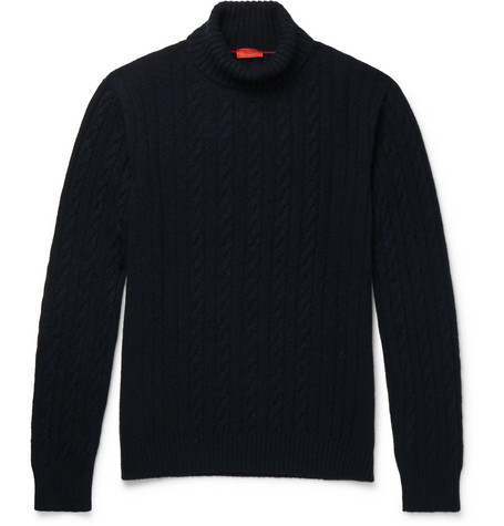 Cable-knit Cashmere Rollneck Sweater - Midnight blue