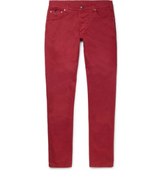Isaia - Slim-Fit Stretch-Cotton Twill Trousers