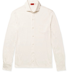 Isaia Silk and Cotton-Blend Jersey Shirt