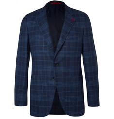Isaia Blue Checked Wool and Silk-Blend Bouclé Blazer