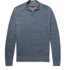Isaia Mélange Linen and Cotton-Blend Half-Zip Sweater